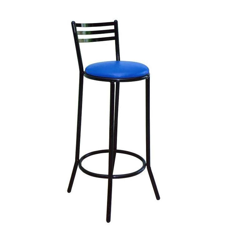 Banqueta Alta Em Aço Preto Com Assento Azul
