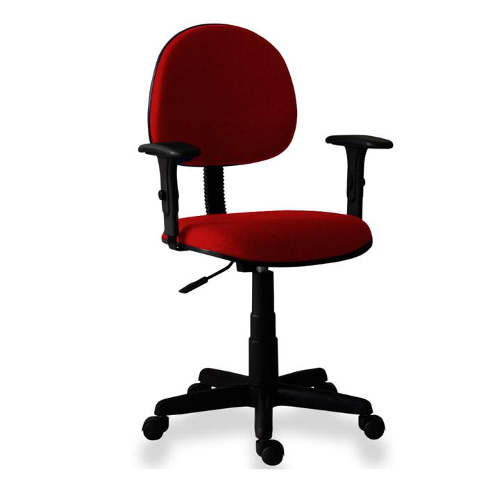 Cadeira Executiva Com Braços Reguláveis Tecido Vermelho